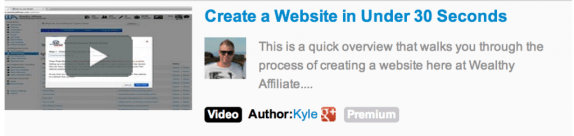 A video photo link and beside it an invitation to create a website in under 30 seconds
