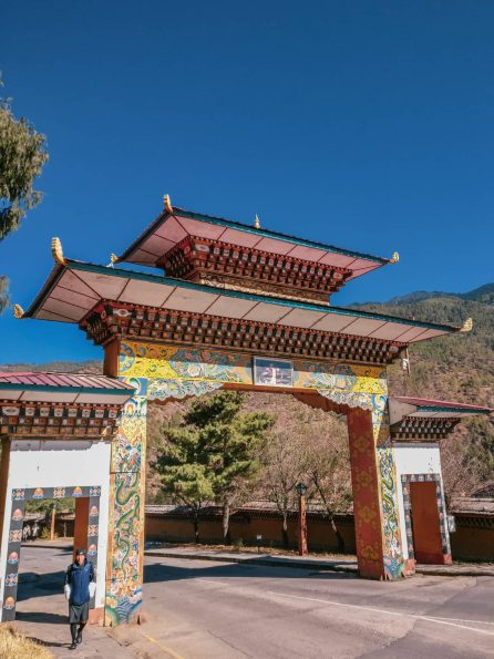 A traditional Buddhist architecture gate in Thimphu
