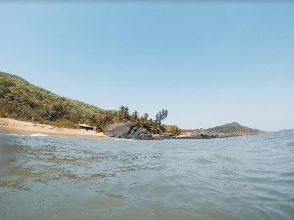half moon beach during five beach trek in gokarna in karnataka