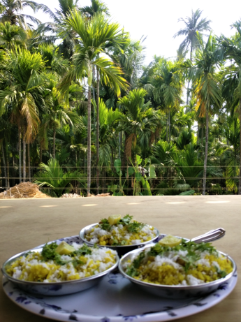 traditional marathi breakfast of poha at velas turtle festival