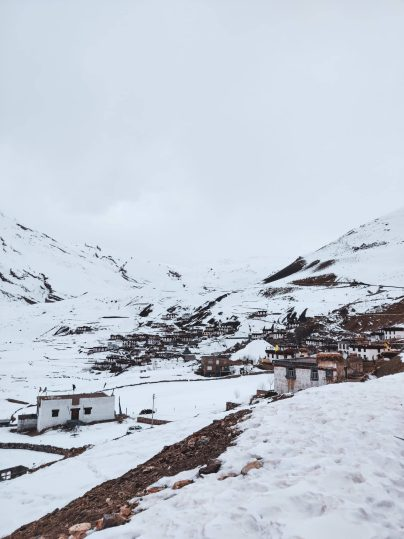 winter snow at chicham spiti valley