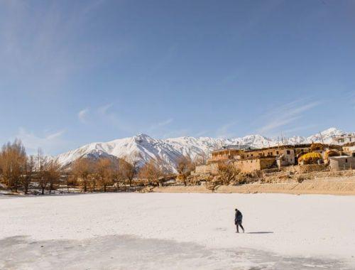 frozen nako lake, winters in spiti valley