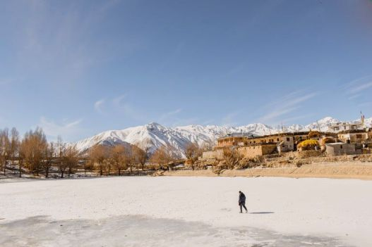 frozen nako lake, winters in spiti valley