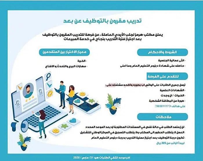 وظائف عمان عن بعد - تدريب مقرون بالتوظيف عن بعد بمكتب هرمز