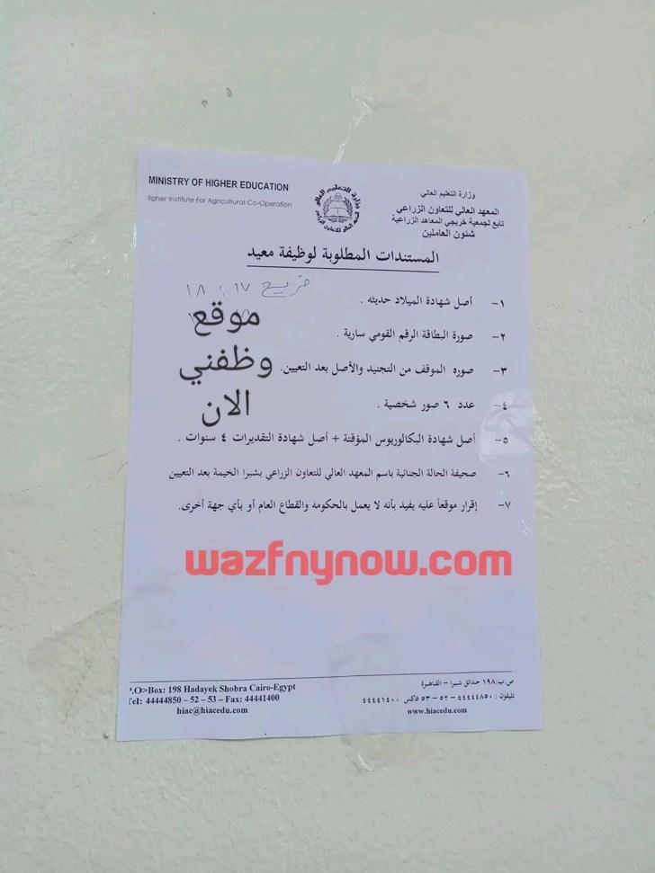 اعلان وظائف المعهد العالي للتعاون الزراعي بشبرا الخيمة 1