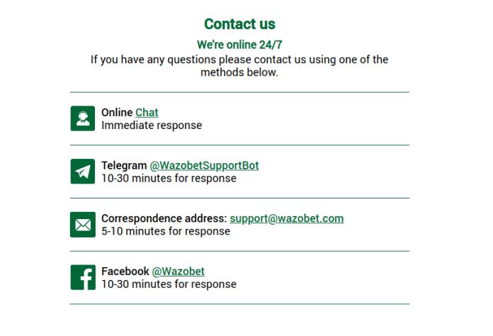 Wazobet customer support form