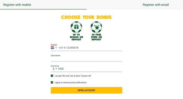 Registration options on Wazobet