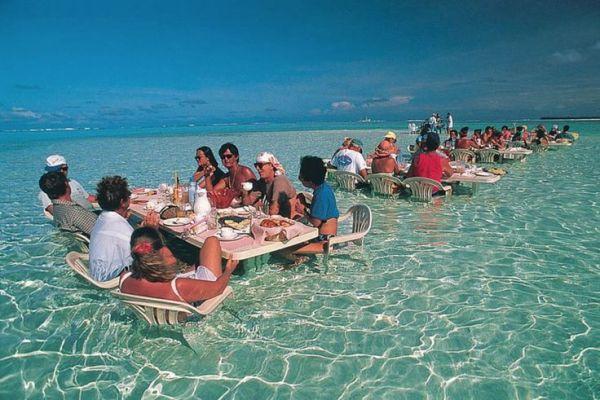 In this sea restaurant in Bora Bora.