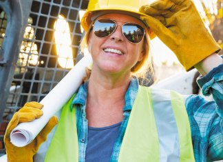 Sisters in Steel Caps - lady with hardhat