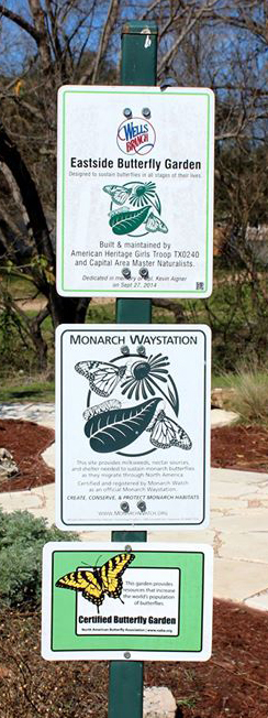 Butterfly Gardens   WBNA   Wells Branch Neighborhood Association Be sure and visit our own WB Eastside Butterfly Garden  Park just north of  the WB MUD Annex at 14611 Wells Port and follow the trail east south east