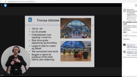 Mona Magnussen opowiedziała o działaniach w dobie pandemii Tromsø w Norwegii. Na język polski tłumaczyła Ilona Wiśniewska. Całość Forum na Polski Język Migowy tłumaczył Łukasz Grzesiuk,