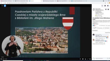 O działalności bibliotek w Europie w czasach pandemii jako pierwsza opowiedziała Jana Šubrová z Miejskiej Biblioteki Publicznej im. Jiřego Mahena w Brnie w Czechach