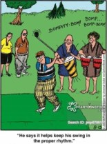 'He says it helps keep his swing in the proper rhythm.'