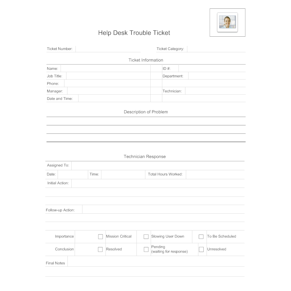 Trouble Ticket Form Format