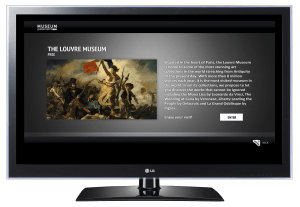 An LG smart TV displaying text about the Louvre Museum