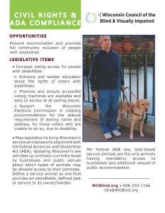 A handout on Civil Rights and ADA compliance by WCBVI