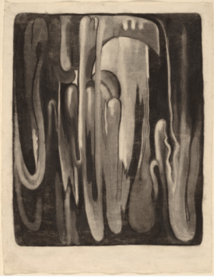 A black and white graphite drawing of bending tubes.