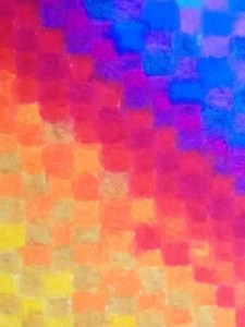 bright checkered pattern in oil pastels