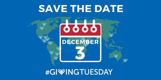 Graphic with map of Earth that says Save The Date December 3 #GivingTuesday.