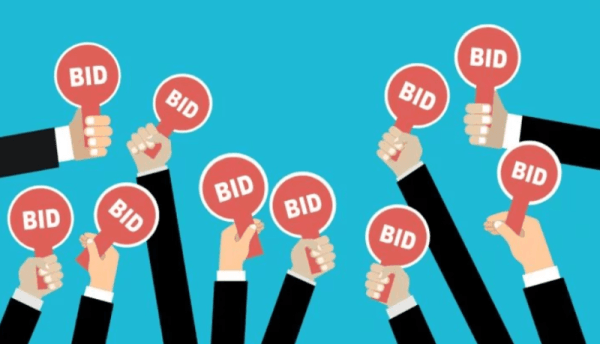 Multiple Hands with bid signs