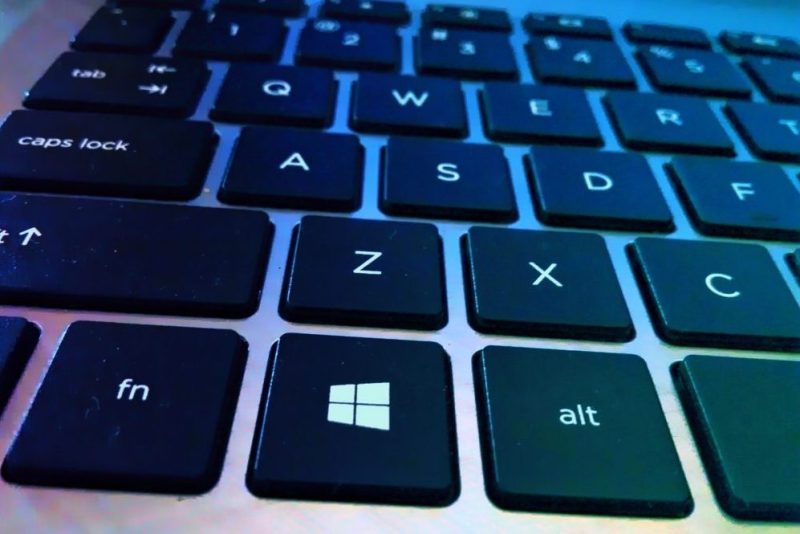 Close up of a Keyboard showing the Windows key.