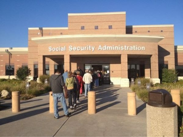 A line outside of a Social Security Administration office building in the Bronx, New York.