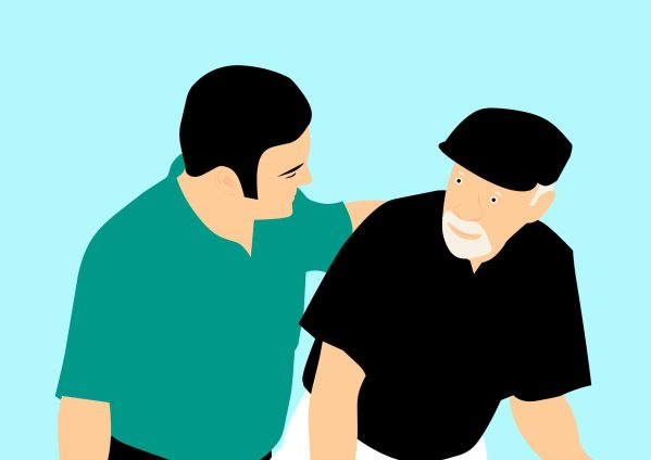 Graphic: A younger person helps an older person.