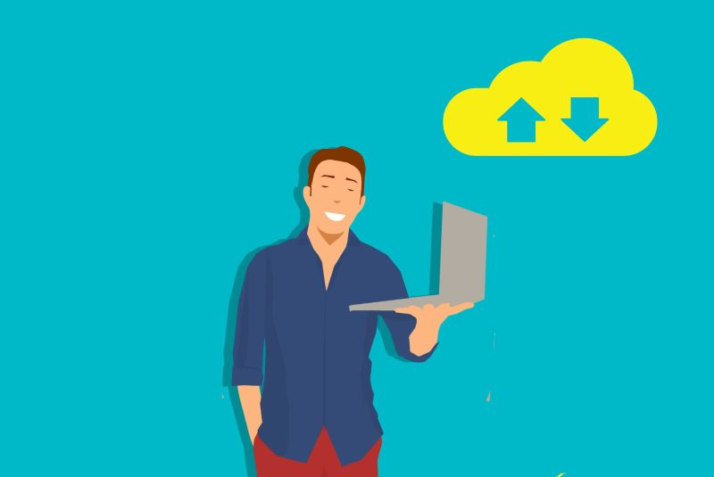 graphic of laptop user with cloud communication symbols