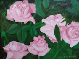 Five light-pink roses with their green leaves.