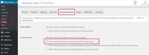 Default WooCommerce Registration account options