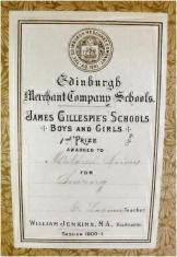 Presentation bookplate - James Gillespie's Schools, Edinburgh