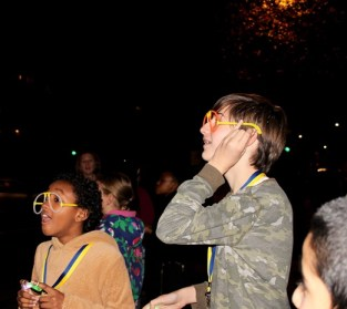 Watching as balloons are released - Queen's Park Library sleepover, December 2015