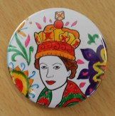 Badge making craft activity for the Queen's 90th birthday, Maida Vale Library, June 2016