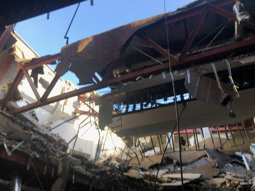 Roof collapses on community college auditorium