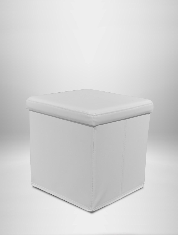 square white leather ottoman
