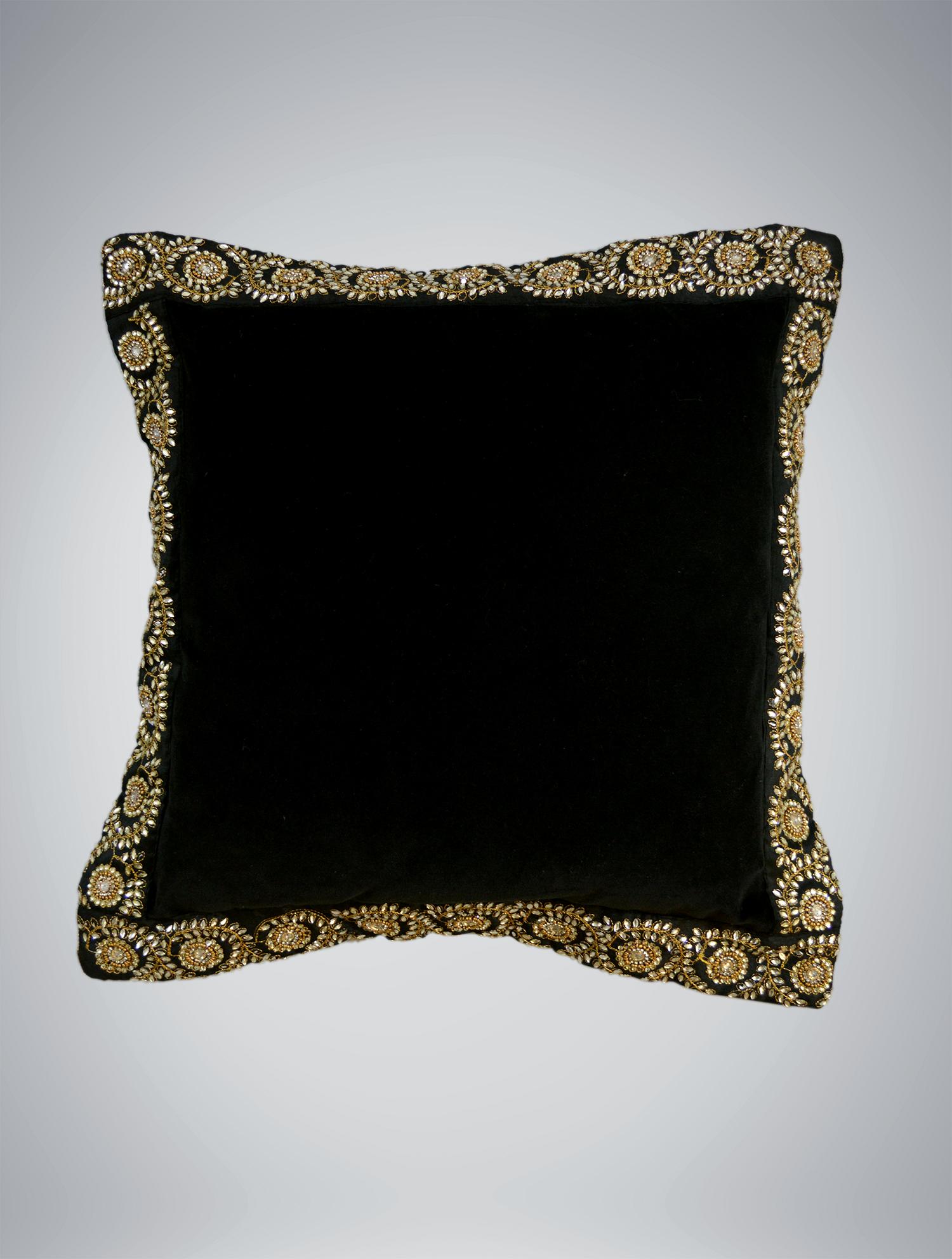 black velvet gold beaded pillow