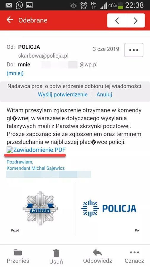 Policja ostrzega przed fałszywymi wiadomościami