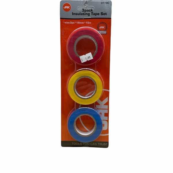 JAK 3 Pack Insulating Tape Set 18mm x 15m (Red,Yellow,Blue) 07790