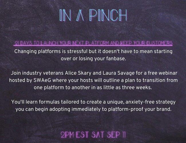 Platform Switching Webinar with Alice Skary & Laura Savage (Sept. 11, 2021)