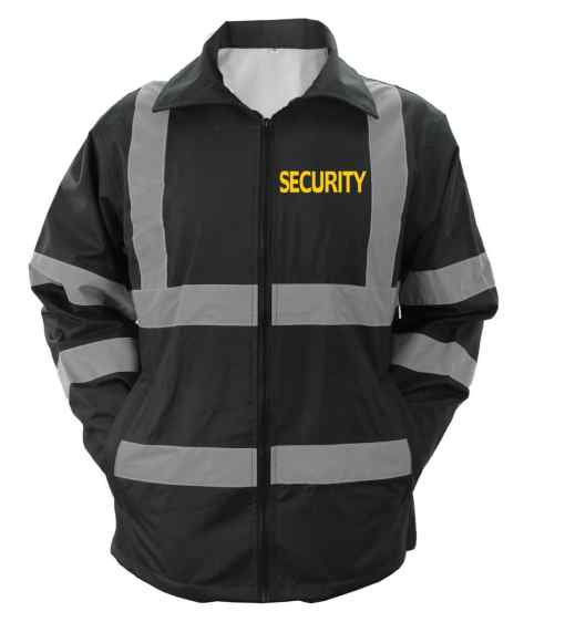 js_47_sec-sg High Visibility Black Security Raincoat With Reflective Stripes