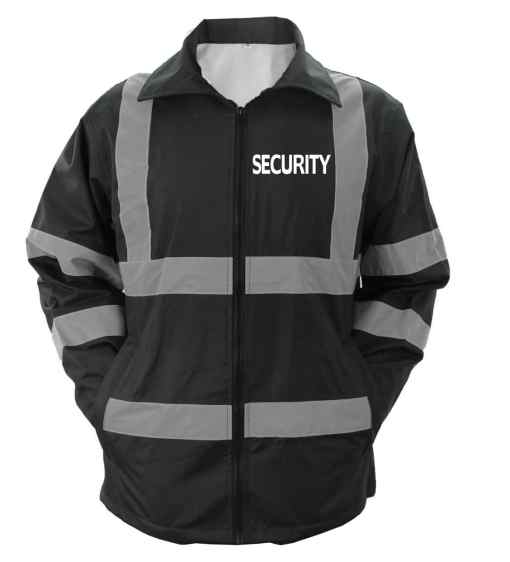 js_47_sec High Visibility Black Security Raincoat With Reflective Stripes