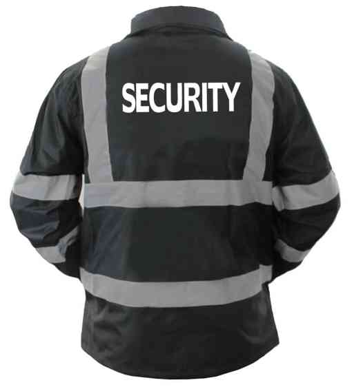 js_47_sec_back High Visibility Black Security Raincoat With Reflective Stripes