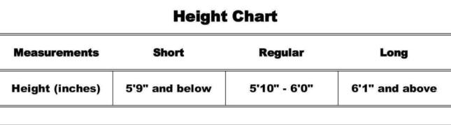 Safeguard Size Chart height Chart