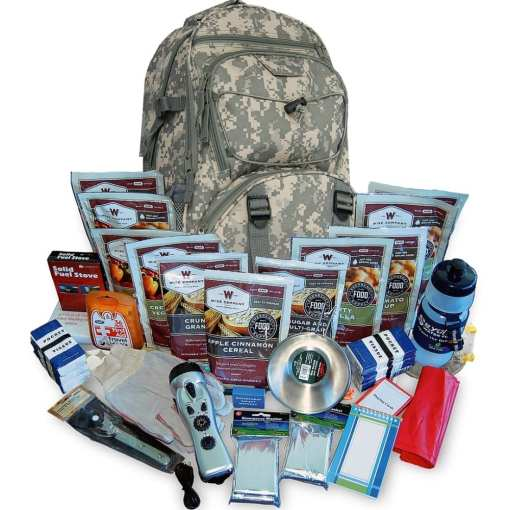2 Week Essential Survival Backpack for 1 Person with Wise Emergency Food Camo