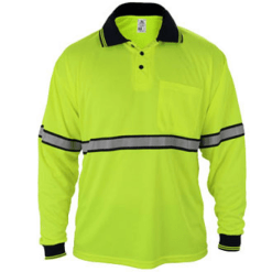 Long Sleeve Polo Shirts with Reflective Stripes PSL79