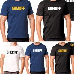 Hanes Tagless 5250 Comfortsoft Cotton T-Shirt with Sheriff ID Black Navy Blue White