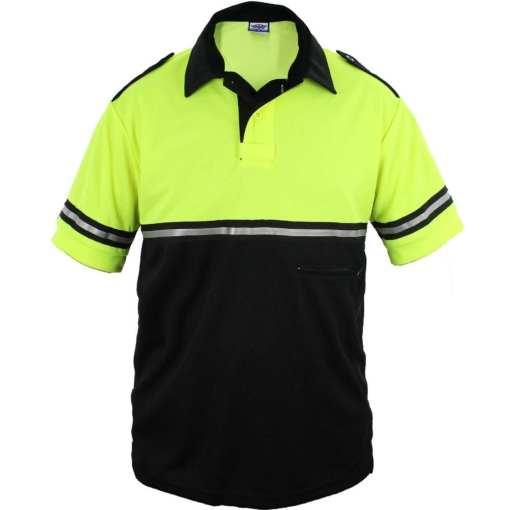 Two-Tone Bike Patrol Shirt with Zipper Pocket Hi-Viz Yellow Lime Green
