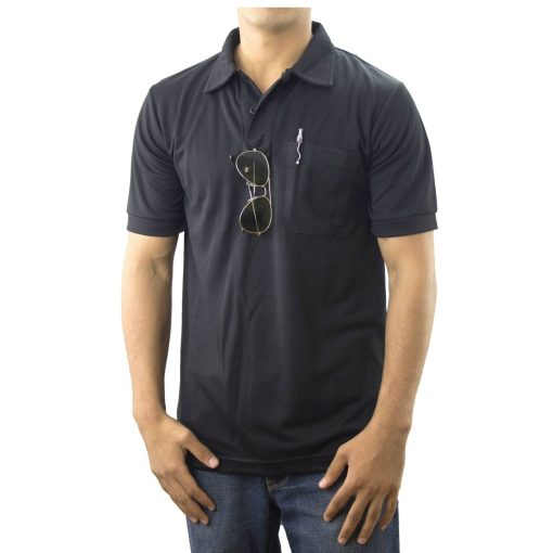 Black Pro-Dry Polo Shirt with One Pocket 100% Polyester