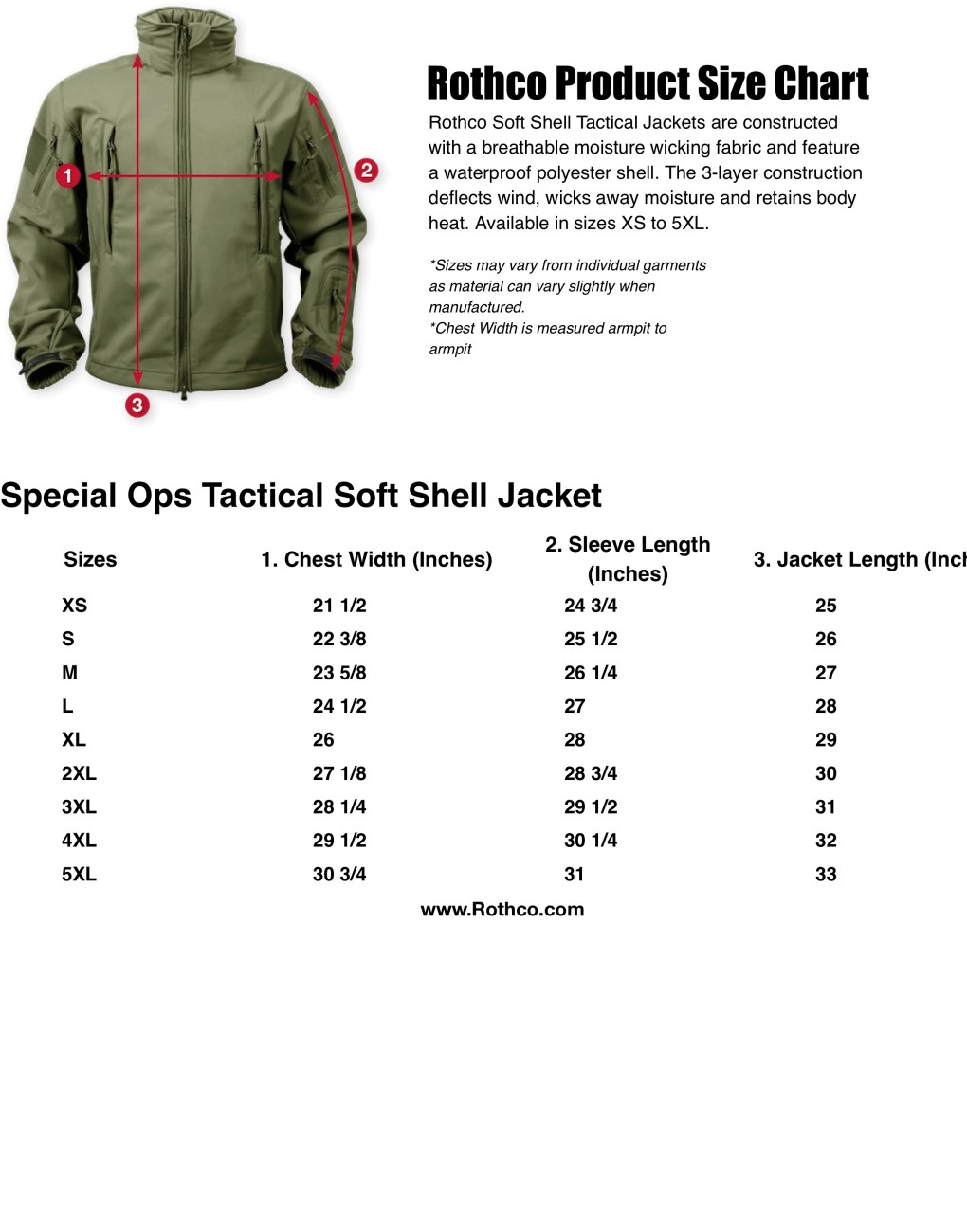 Rothco Spec Ops Tactical Soft Shell Jacket Size Chart