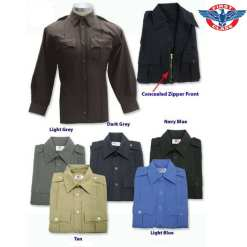 First Class 100% Polyester Long Sleeve Zippered Uniform Shirt